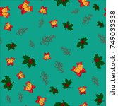 christmas seamless pattern with ... | Shutterstock .eps vector #749033338