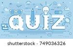 quiz line concept. vector... | Shutterstock .eps vector #749036326