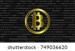 gold bitcoin icon on binary... | Shutterstock .eps vector #749036620