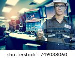 double exposure of  engineer or ... | Shutterstock . vector #749038060