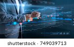 businessman with virtual... | Shutterstock . vector #749039713