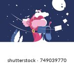 santa claus stands near mailbox ... | Shutterstock .eps vector #749039770