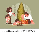 parents with children open... | Shutterstock .eps vector #749041279