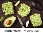 healthy avocado toast. mashed... | Shutterstock . vector #749042650