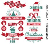 christmas background vector... | Shutterstock .eps vector #749043409