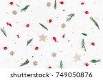 christmas composition. pattern... | Shutterstock . vector #749050876