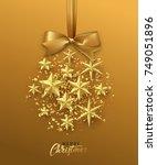 christmas golden ball made of... | Shutterstock .eps vector #749051896
