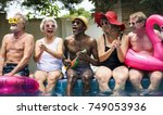 group of diverse senior adults... | Shutterstock . vector #749053936
