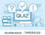 quiz computer monitor line... | Shutterstock .eps vector #749054143