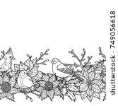 winter plants with birds... | Shutterstock .eps vector #749056618