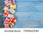gifts with colorful ribbons for ... | Shutterstock . vector #749062540