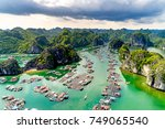 floating fishing village and... | Shutterstock . vector #749065540