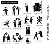 anger management stick figure... | Shutterstock . vector #749065768