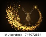 happy new year 2018 gold color... | Shutterstock .eps vector #749072884
