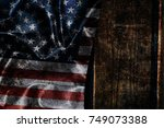 usa flag on a wood surface   Shutterstock . vector #749073388
