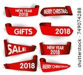 set of merry christmas ... | Shutterstock .eps vector #749074288