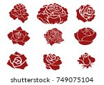 Stock vector set of stylized roses isolated on white background set of red roses 749075104