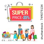 super price sale with 35  off... | Shutterstock .eps vector #749075134