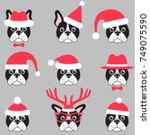 french bulldogs with santa hats | Shutterstock .eps vector #749075590