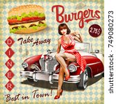 burger vintage poster with pin... | Shutterstock .eps vector #749080273