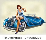 vintage background with pin up... | Shutterstock .eps vector #749080279