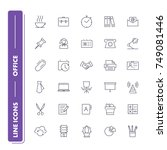 line icons set. office. vector... | Shutterstock .eps vector #749081446