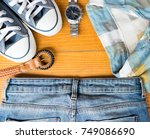 accessories clothes fashion set ... | Shutterstock . vector #749086690