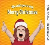 happy girl  happy kid  new year ... | Shutterstock .eps vector #749087833