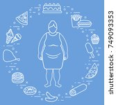 fat woman with unhealthy... | Shutterstock .eps vector #749093353