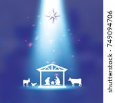 birth of christ. baby jesus in...   Shutterstock .eps vector #749094706