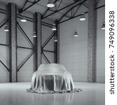modern factory loft hangar with ... | Shutterstock . vector #749096338