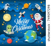 2space theme merry christmas... | Shutterstock .eps vector #749097298