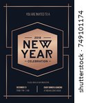 happy new year party rose gold... | Shutterstock .eps vector #749101174