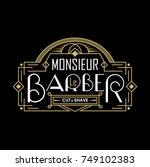barber shop vintage logo with... | Shutterstock .eps vector #749102383