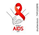 world aids day. holding hands... | Shutterstock .eps vector #749103898