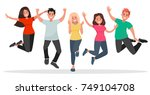 group of young people jumping... | Shutterstock .eps vector #749104708