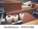 packaging and shipping... | Shutterstock . vector #749107486