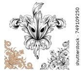 classical baroque vector set of ... | Shutterstock .eps vector #749109250