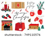 merry christmas happy new year... | Shutterstock .eps vector #749110576