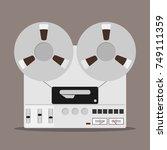 bobbin tape recorder  badge of... | Shutterstock .eps vector #749111359