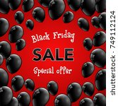 black friday sale   poster with ... | Shutterstock .eps vector #749112124