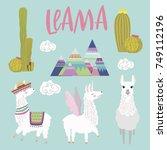 set of cute alpaca characters... | Shutterstock .eps vector #749112196