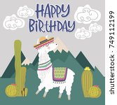 happy birthday card with cute... | Shutterstock .eps vector #749112199