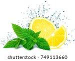 lemon splash water and mint... | Shutterstock . vector #749113660