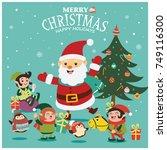 vintage christmas poster design ...   Shutterstock .eps vector #749116300