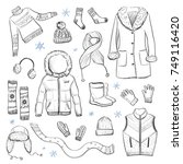 collection of winter clothes....   Shutterstock .eps vector #749116420