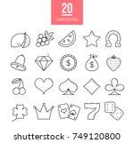 casino line icons set. vector... | Shutterstock .eps vector #749120800