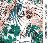 trendy seamless exotic pattern... | Shutterstock .eps vector #749121280