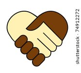 hand shake between black and... | Shutterstock .eps vector #74912272