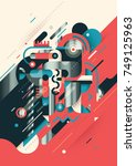 retro style futuristic... | Shutterstock .eps vector #749125963
